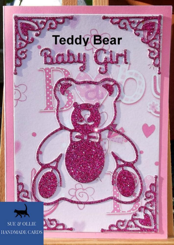 Pink Teddy Bear Baby Girl Card