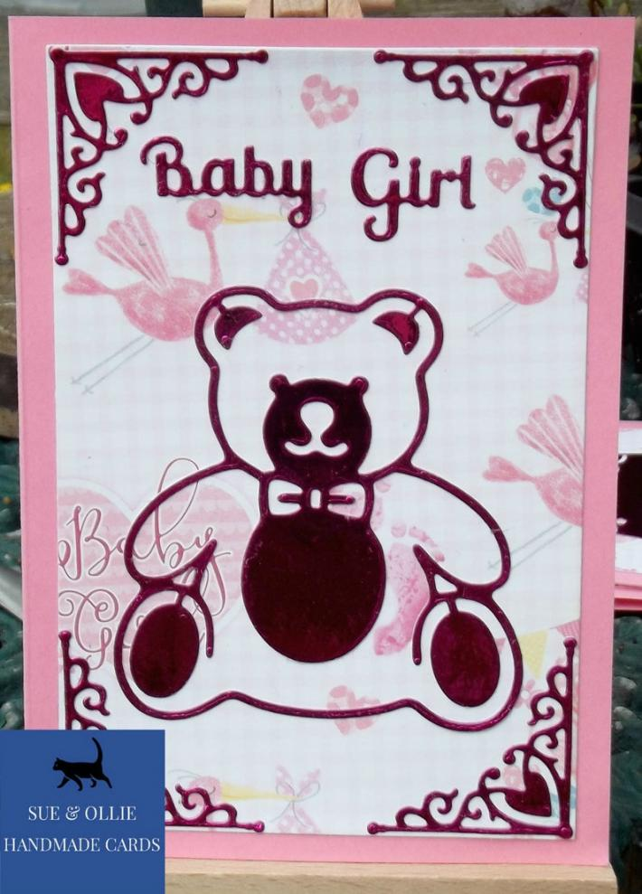 Pink Teddy Bear Baby Girl Card