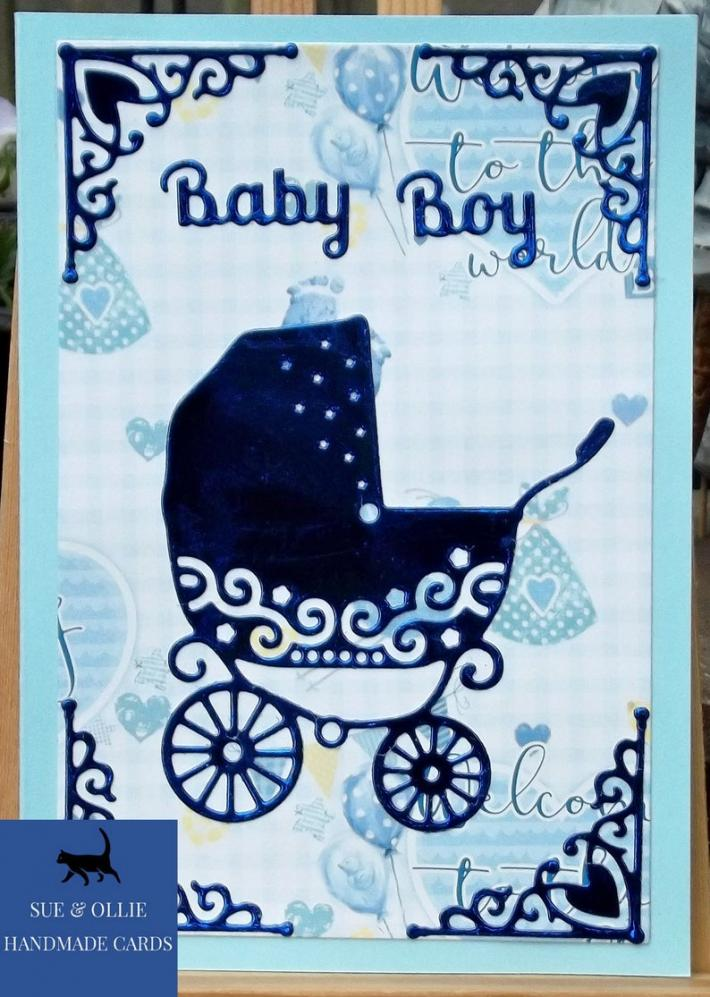 Blue Pram Baby Boy Card