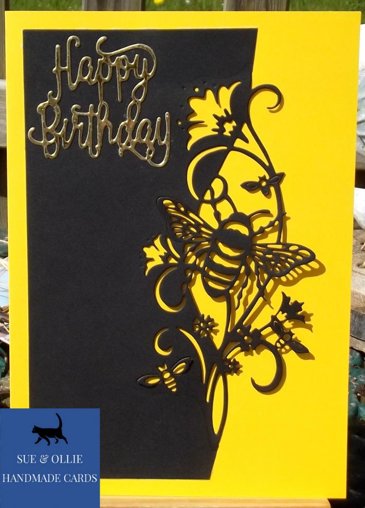 Black and Yellow Bumblebee Birthday Card