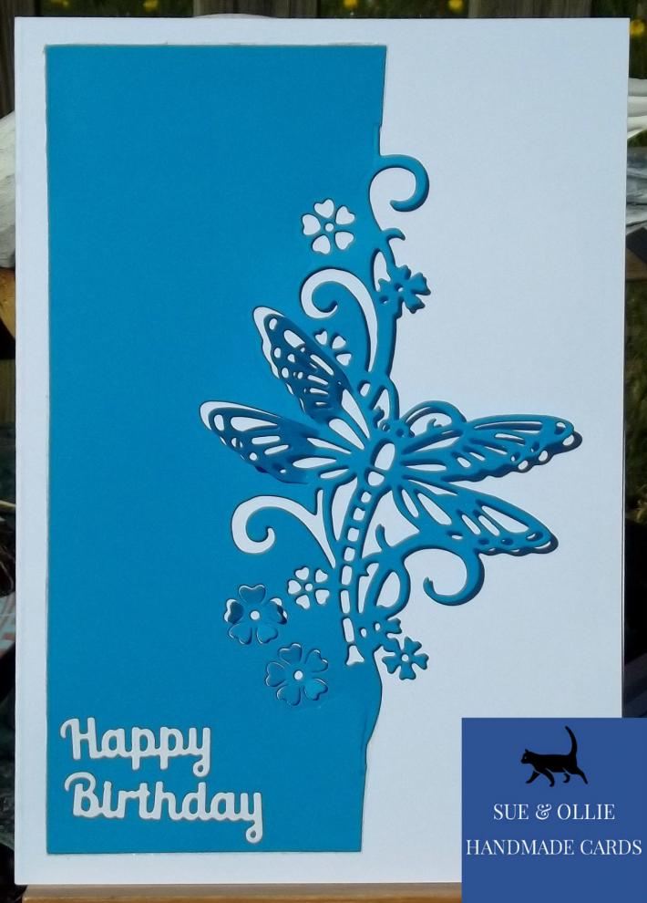 Blue and White Dragonfly Birthday Card