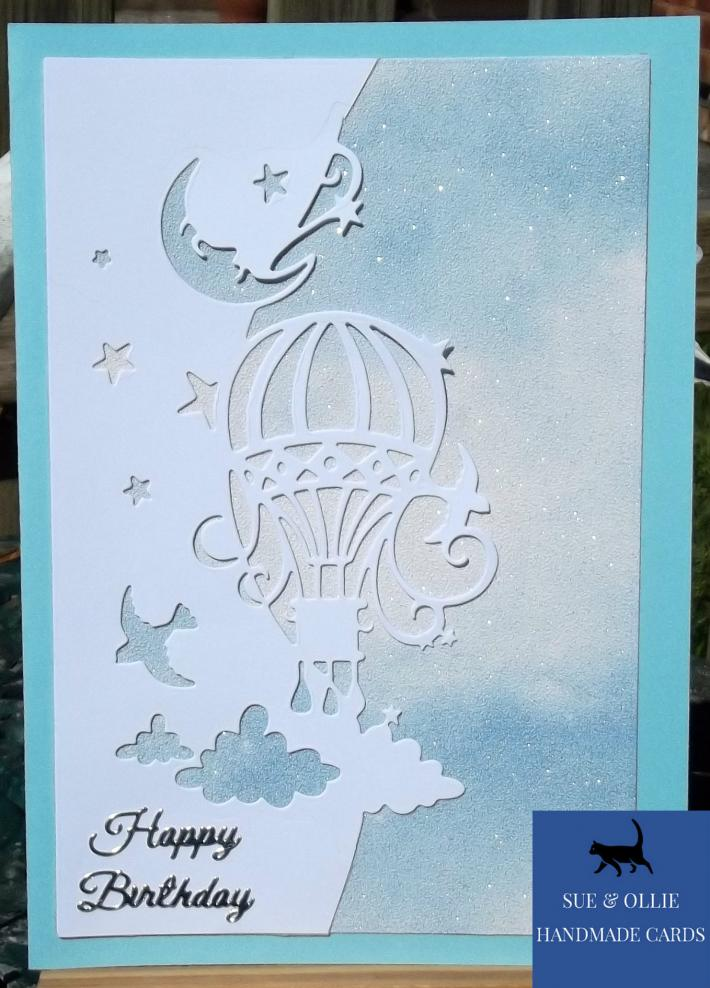 Blue Hot Air Balloon Birthday Card