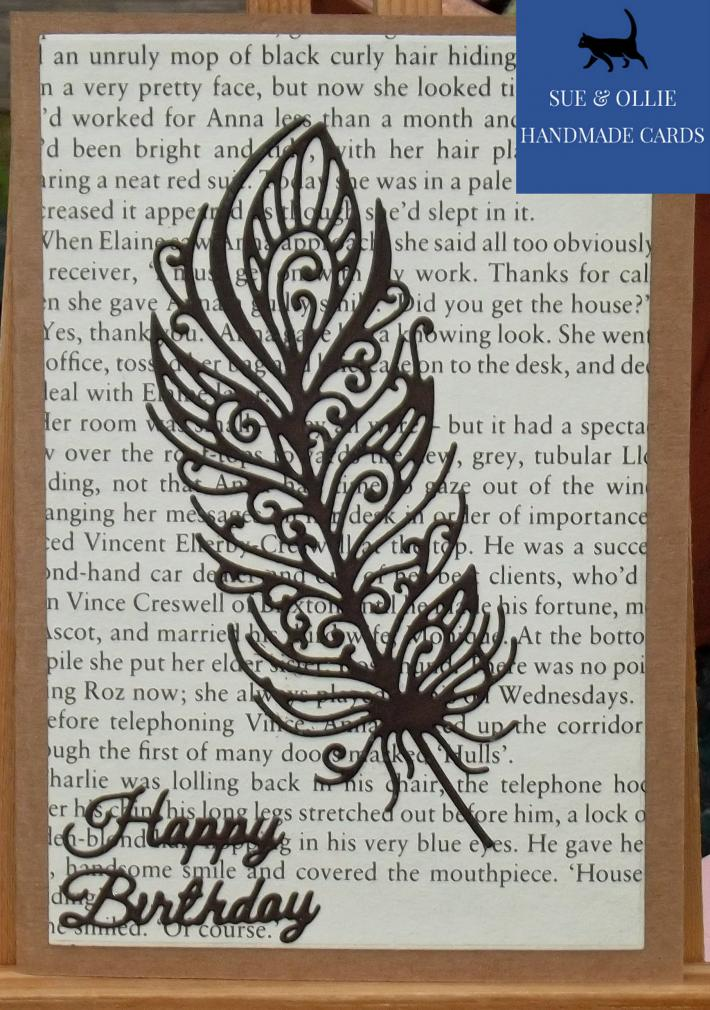 Brown Peacock Feather Birthday Card