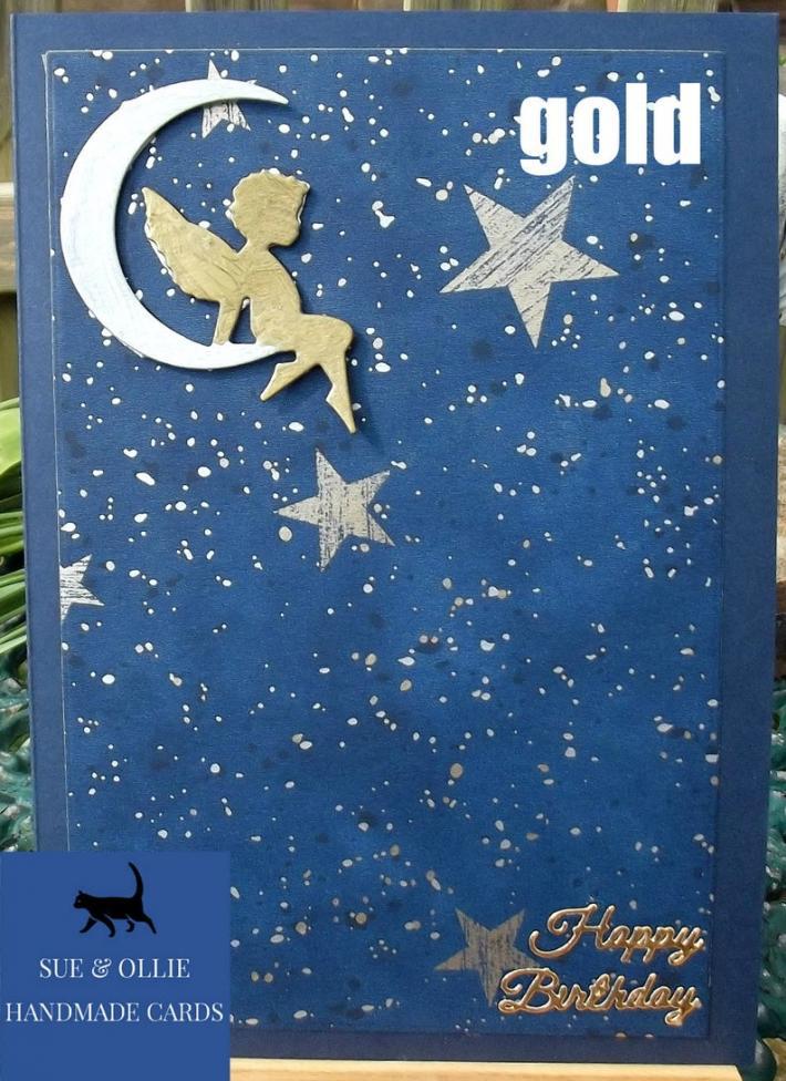 Navy Cherub or Angel Gold on the Moon Birthday Card