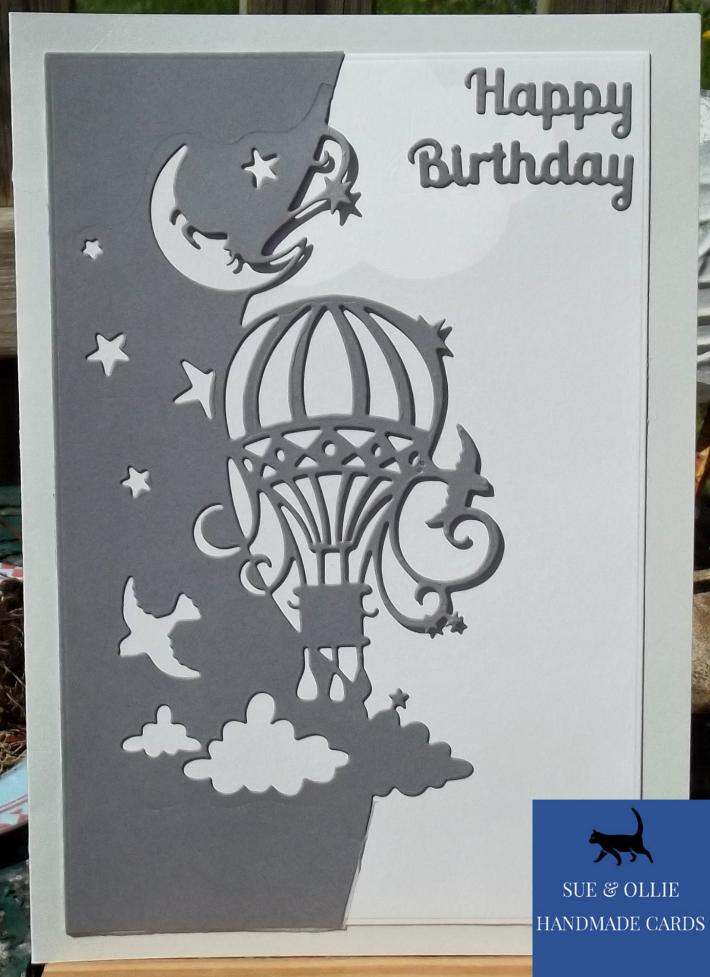 Grey Hot Air Balloon Birthday Card