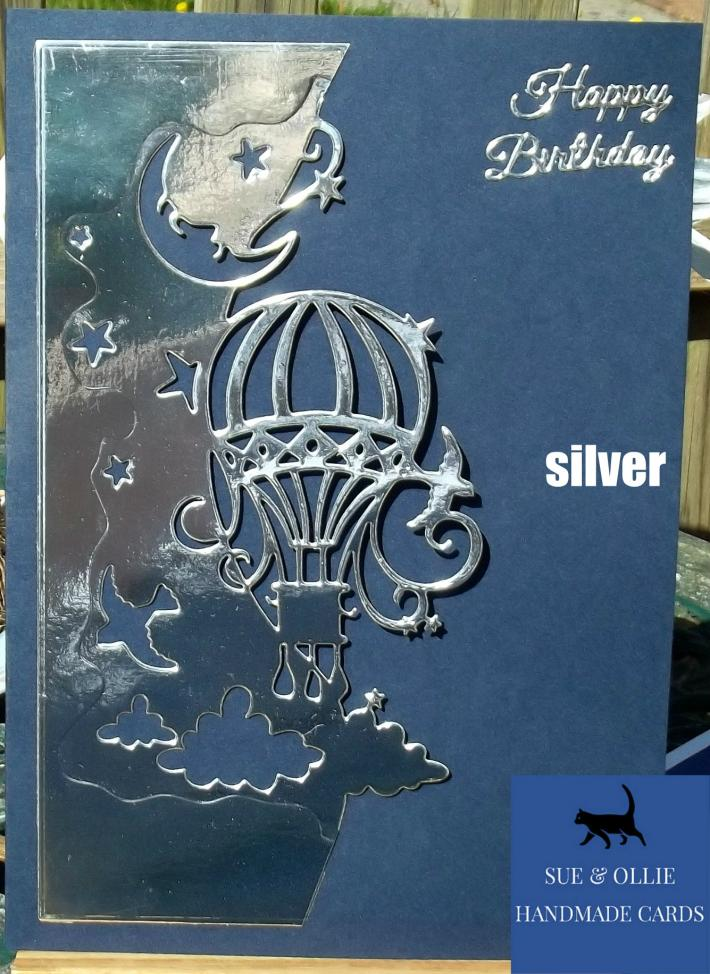 Navy Silver Hot Air Balloon Birthday Card