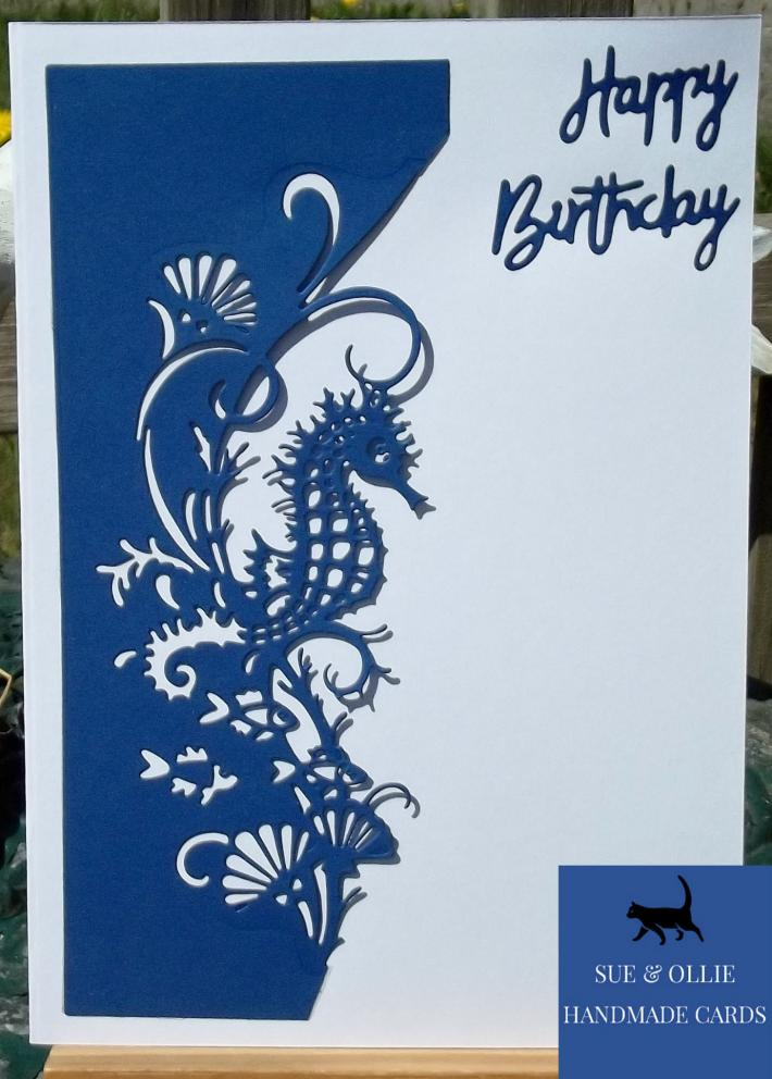 Blue and White Seahorse Birthday Card