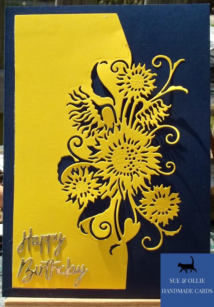 Navy Yellow Sunflowers Birthday Card