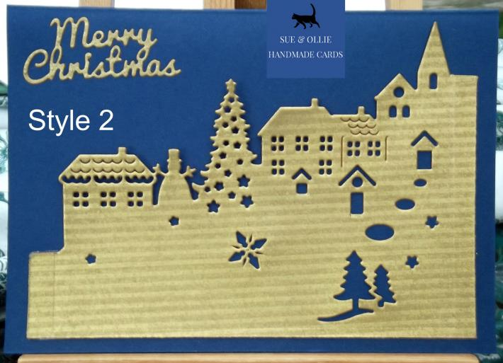 Navy and Gold Town or Snowman Christmas Card