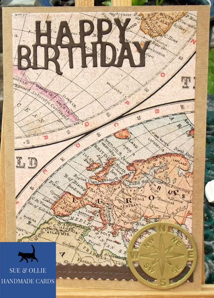 Brown World Maps Male Birthday Card