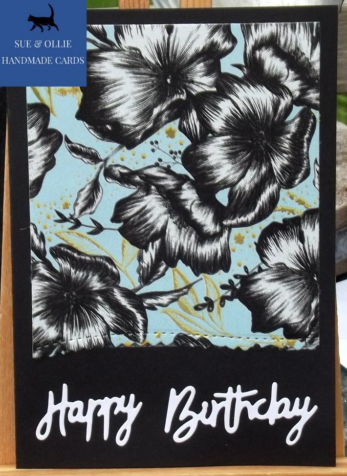 Black Flowers Happy Birthday Card