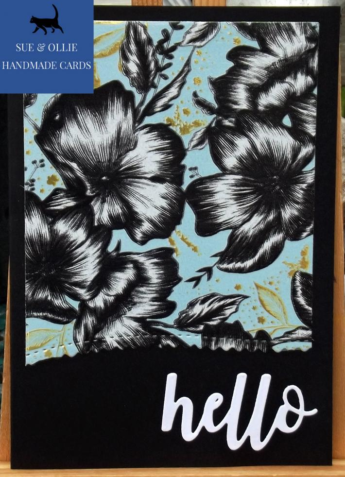 Black Flowers Blank Hello Card