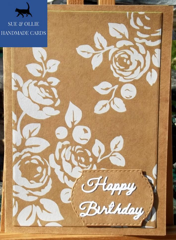 Brown and White Flowers Women Female Birthday Card