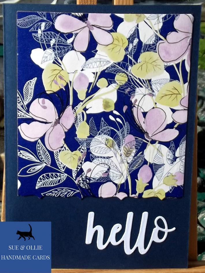 Navy Blank Note Flowers Hello Card