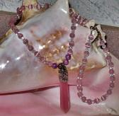 Pink Cats Eye Wand Necklace and Bracelet