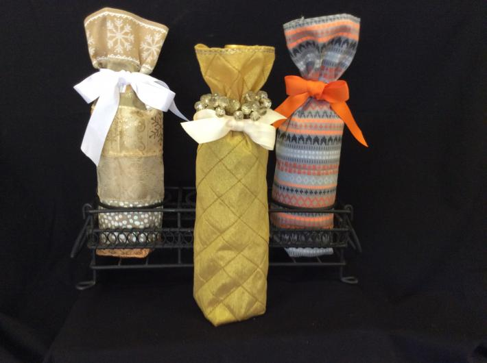 Fabric wine or bottle gift bag