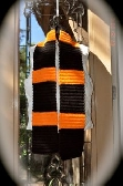 Orange and Black Camel Stitch Scarf