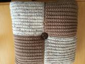 SOLD Taupe and Aran Fleck Pillow with Round Coconut Buttons