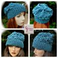 SOLD Metallic Teal Slouchy Beanie