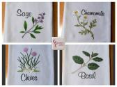 Sage Chamomile Chives and Basil Flour Sack Towels Set of 4