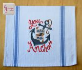 You Are My Anchor Tea Towel with Hanging Loop