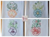 Lovely Poppy Daisy Pansy Rose Flour Sack Towels Set of 4