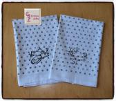 Hot Stuff and Lick the Spoon Flour Sack Towels with Dots Set of 2