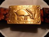 Mayan Inspired   Handmade  Leather Belt    Vintage Gold Buckle     Size 40