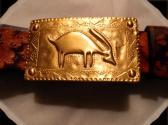 Mayan Inspired   Handmade  Leather Belt    Vintage Gold Buckle     Size 40