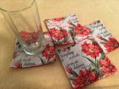 HANDMADE SET OF 4 CHRISTMAS FABRIC COASTERS WITH SCRIPTURES