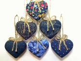 Navy Blue Party Favor Heart Ornaments