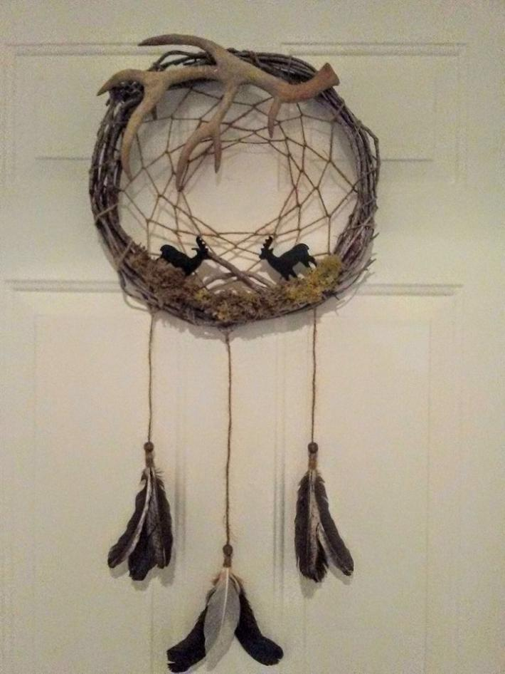 Adirondack Style Deer and Antler Dream Catcher Wall Hanging