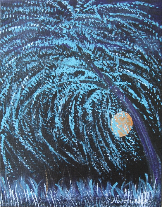 Dreamsicle Moon with Willow Tree Painting