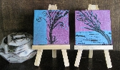 Pair Modern Mini Paintings with free easel