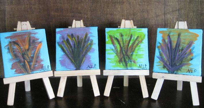 Bright Quad Set 4 Mini Paintings free easels