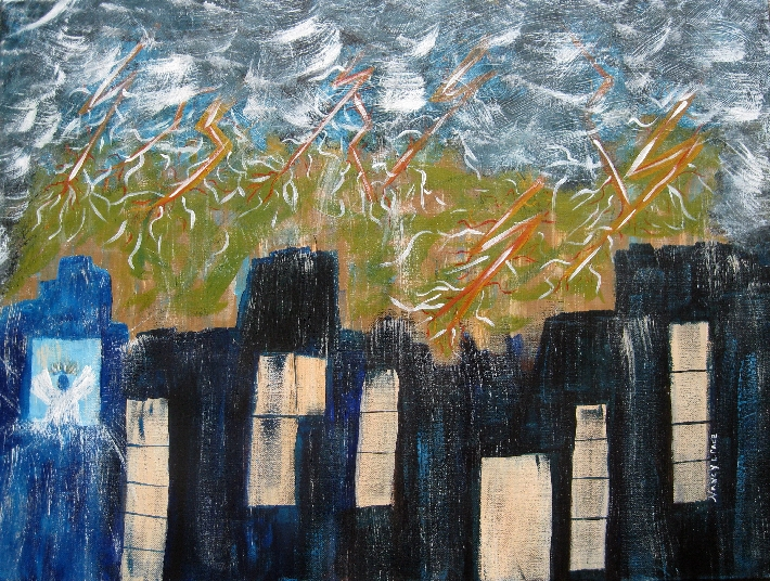Suddenly Original CityScape Abstraction Style Painting