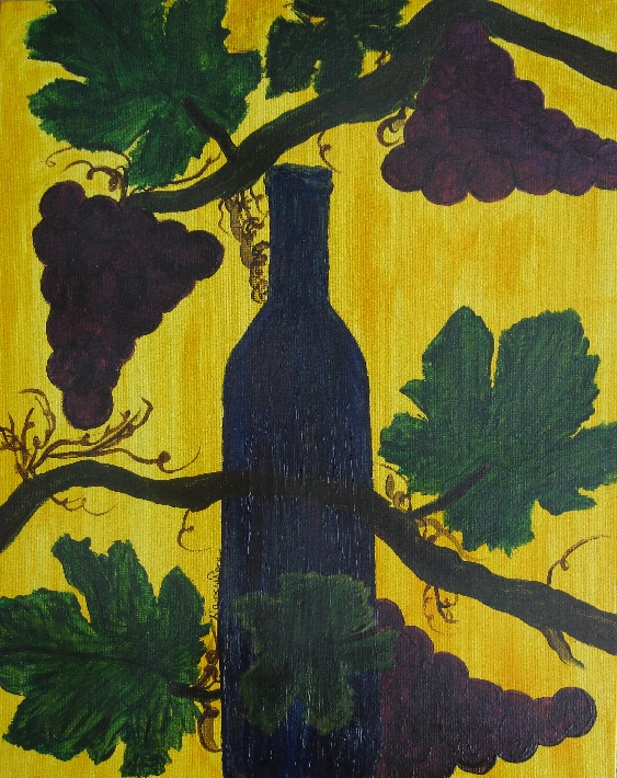 Waiting Original Wine Art Painting