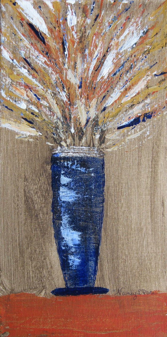Wild Fall Floral in Blue Vase Original Painting