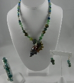 Green Lampwork Conch Necklace Set