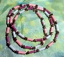 Paper bead necklace pink and  blue and purple