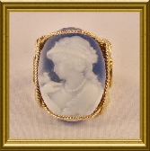 Rolled Gold Blue Agate Lady Cameo Ring