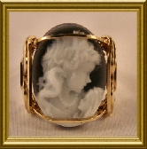 Rolled Gold Black Agate Lady with Child Cameo Ring