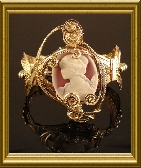 14K Rolled Gold Sculpted Lady Cameo Bracelet