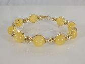 Yellow JADE and 14k ROLLED GOLD Beaded Bracelet