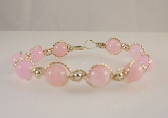 PINK OPAL and 14k Rolled GOLD Beaded Bracelet Wire Wrapped