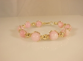 PINK OPAL and 14k Rolled GOLD Beaded Bracelet