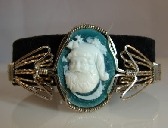Argentium Sterling Silver and Green Agate Santa Claus Cameo Bangle Bracelet