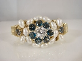 14K Yellow Rolled Gold Wire Wrapped Blue Topaz Freshwater Pearls and Cubic Zirconia Bangle Bracelet