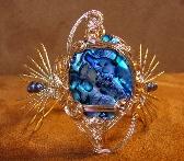 Blue Paua Shell and Black Fresh Water Pearl 14K Rolled Gold Bangle Bracelet