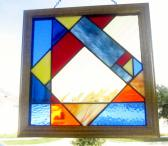 Stained Glass Panel Framed Abstract Geometric Color